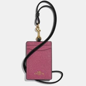 NWT COACH Color Block Pink ID Badge Card Lanyard